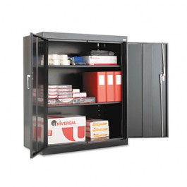 "Assembled 42"" High Storage Cabinet, w/ Adjustable Shelves, 36w x 18d, Black"