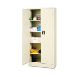 """Space Saver 66"""" High Storage Cabinet, 4 adjustable Shelves, 30w x 15d x 66h, Putty"""