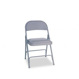 Steel Folding Chair w/Padded Seat, Light Gray, 4/Carton