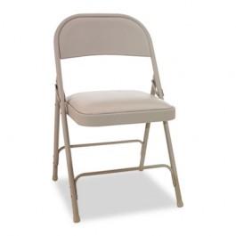 Steel Folding Chair w/Padded Seat, Tan, 4/Carton