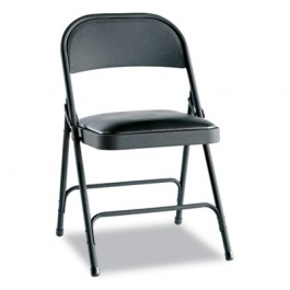 Steel Folding Chair w/Padded Seat, Graphite, 4/Carton