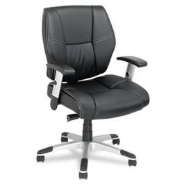 Napoleon Petite Mid-Back Swivel/Tilt Leather Chair, Black/Chrome