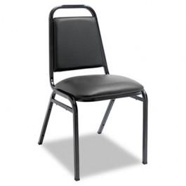 Upholstered Stacking Chairs w/Square Back, Black Vinyl, Black Frame