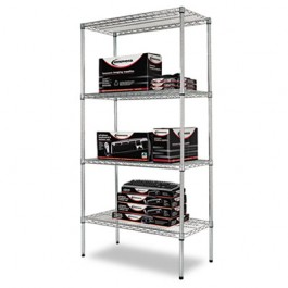 Wire Shelving Starter Kit, 4 Shelves, 36w x 18d x 72h, Silver