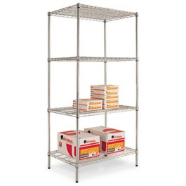 Wire Shelving Starter Kit, 4 Shelves, 36w x 24d x 72h, Silver