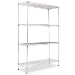 Wire Shelving Starter Kit, 4 Shelves, 48w x 18d x 72h, Silver