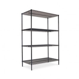 Wire Shelving Starter Kit, 4 Shelves, 48w x 24d x 72h, Black