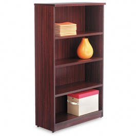 Valencia Series Bookcase, 4 Shelves, 31-3/4w x 12-1/2d x 55h, Mahogany