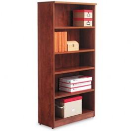 Valencia Series Bookcase, 5 Shelves, 31-3/4w x 12-1/2d x 65h, Medium Cherry