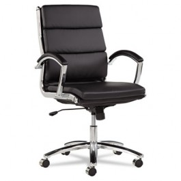 Neratoli Mid-Back Swivel/Tilt Chair, Black Soft-Touch Leather, Chrome Frame