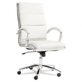 Neratoli High-Back Swivel/Tilt Chair, White Faux Leather, Chrome Frame