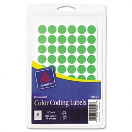 Removable Self-Adhesive Color-Coding Labels, 1/2in dia, Neon Green, 840/Pack