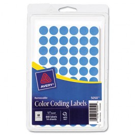 Removable Self-Adhesive Color-Coding Labels, 1/2in dia, Light Blue, 840/Pack