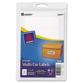 Print or Write Removable Multi-Use Labels, 1 x 3, White, 250/Pack