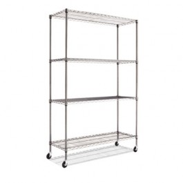 Complete Wire Shelving Unit w/Caster, 4-Shelf, 48w x 18d x 72h, Black Anthracite