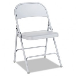 Steel Folding Chair, Light Gray, 4/Carton