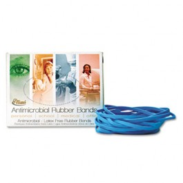 Non Latex Antimicrobial Cyan Blue Rubber Bands, Size #117B, 7 x 1/8, 1/4lb Box