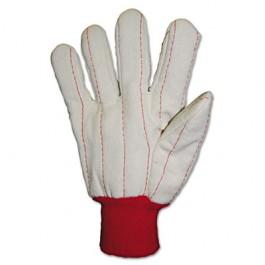 Heavy Canvas Gloves, White/Red