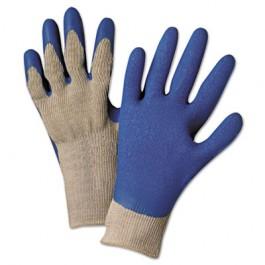 6030L Premium Knit-Back Latex-Palm, Gray/Blue, Large