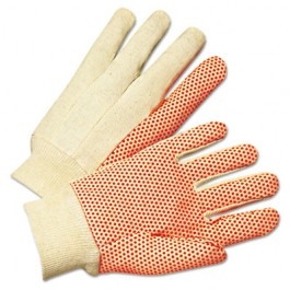 1000 Series PVC Dotted Canvas Gloves, Orange/Black, Large