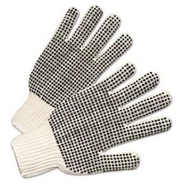 PVC-Dotted String Knit Gloves, Natural White/Black