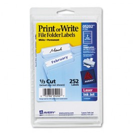 Print or Write File Folder Labels, 11/16 x 3-7/16, White, 252/Pack