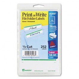 Print or Write File Folder Labels, 11/16 x 3-7/16, White/Green Bar, 252/Pack