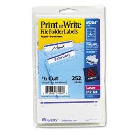 Print or Write File Folder Labels, 11/16 x 3-7/16, White/Purple Bar, 252/Pack