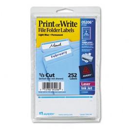 Print or Write File Folder Labels, 11/16 x 3-7/16, WE/Light Blue Bar, 252/Pack