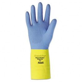 Chemi-Pro Neoprene Gloves, Blue/Yellow, Size 10