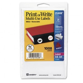 Print or Write Removable Multi-Use Labels, 3/4in dia, White, 1008/Pack