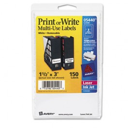 Print or Write Removable Multi-Use Labels, 1-1/2 x 3, White, 150/Pack