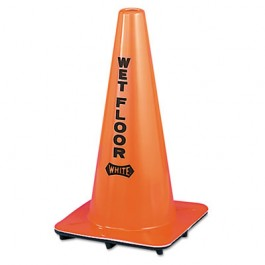 Wet Floor Cone, Vinyl, 10-3/4 x 10-3/4 x 18, Orange