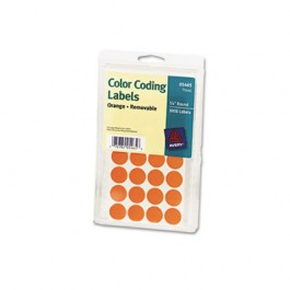 Print or Write Removable Color-Coding Labels, 3/4in dia, Orange, 1008/Pack