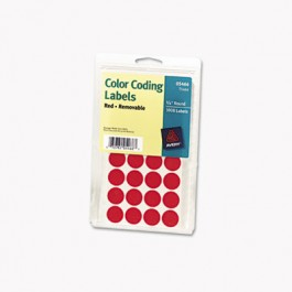 Print or Write Removable Color-Coding Labels, 3/4in dia, Red, 1008/Pack