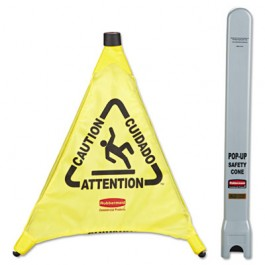"""Multilingual """"Caution"""" Pop-Up Safety Cone, 3-Sided, Fabric, 21 x 21 x 20, Yellow"""