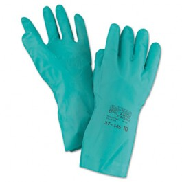 Sol-Vex Sandpatch-Grip Nitrile Gloves, Green, Size 10