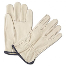 4000 Series Leather Driver Gloves, White, Large