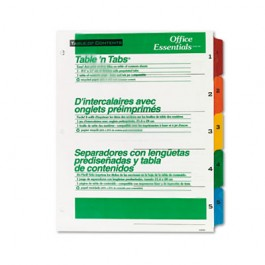 Office Essentials Table 'N Tabs Dividers, Five Multicolor Tabs, 1-5, Letter, Set