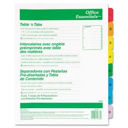 Office Essentials Table 'N Tabs Dividers, Eight Multicolor Tabs, 1-8, Letter