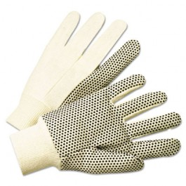 1000 Series PVC Dotted Canvas Gloves, White/Black, Large