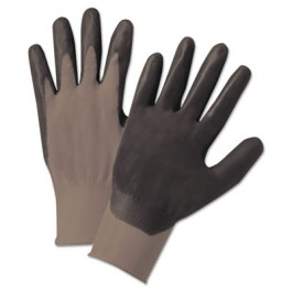 Nitrile Coated Gloves, Gray/Black, Small