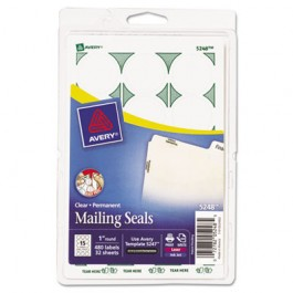 Print or Write Mailing Seals, 1in dia., Clear, 480/Pack