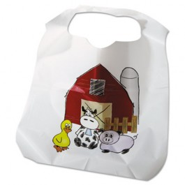 Disposable Child-Size Poly Bibs, Zoo/Farm Pattern