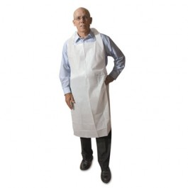 Disposable Medium-Weight Soft Embossed Poly Aprons, White, 28 x 46, Plastic