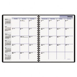 """Recycled Monthly Planner, Black, 6 7/8"""" x 8 3/4"""", 2013"""