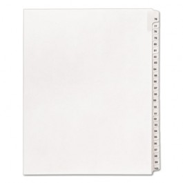 Allstate-Style Legal Side Tab Dividers, 25-Tab, 76-100, Letter, White, 25/Set