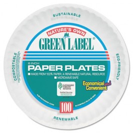 Uncoated Paper Plates, 6 Inches, White, Round, 100/Pack
