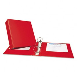 "Economy Round Ring Reference Binder, 3"" Capacity, Red"