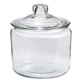 Heritage Hill Glass Jar with Lid, 3 Quart, Clear, Glass Lid